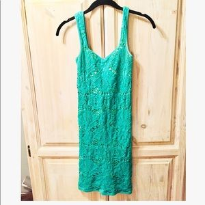 Free People Green Lace Stretch Bodycon Dress S/XS